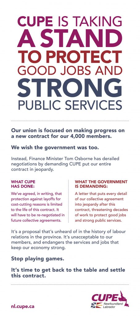 Print ad: CUPE is taking a stand for good jobs and strong public services