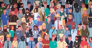 Illustration of large crowd of diverse workers