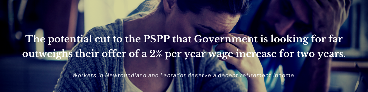 Web banner: Workers deserve a decent retirement income. Image of couple worrying about bills.