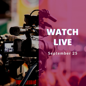 Watch live September 25. Image of a camera, behind the scene in a studio.