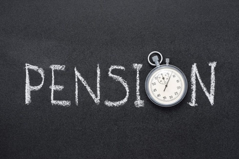 Photo of a chalkboard with the word pension written on it.