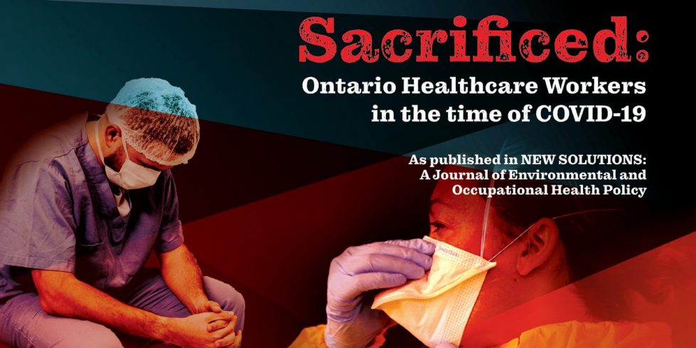 Web banner. OCHU study - Sacrificed: major study of health care workers during the time of COVID. Image of a male and a female health care worker wearing scrubs and a face mask.