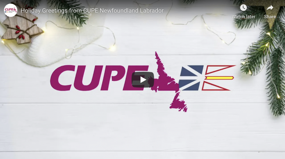 Screenshot of the video: CUPE NL holiday greetings on NTV
