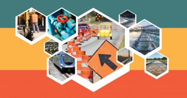 Web banner depicting public services: water treatment, road construction, train and more.
