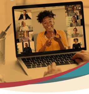 Web banner. Image of virtual meeting participants on a laptop screen.
