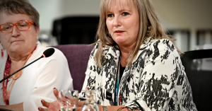 Sherry Hillier speaking at an event