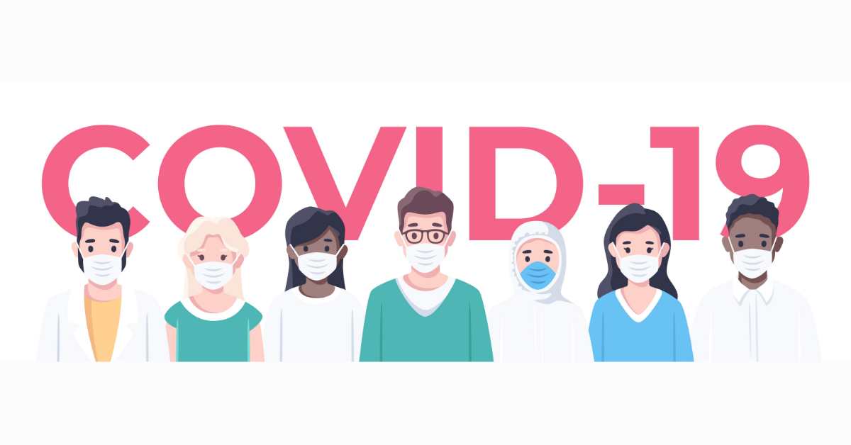 Web banner. Text: COVID. Illustration: 7 workers wearing medical masks.