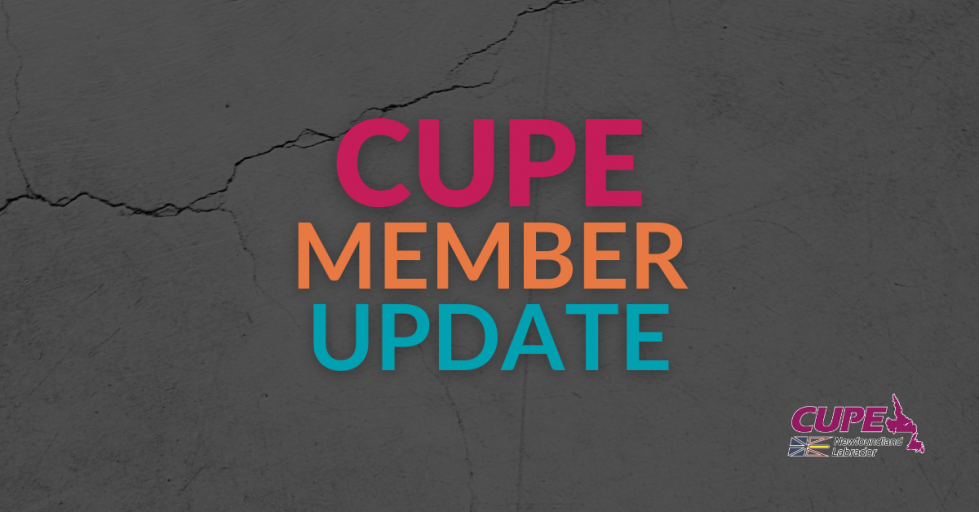 Web banner. Text: CUPE member update