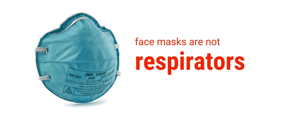 Text: face masks are mot respirators. Image: N95 respirator