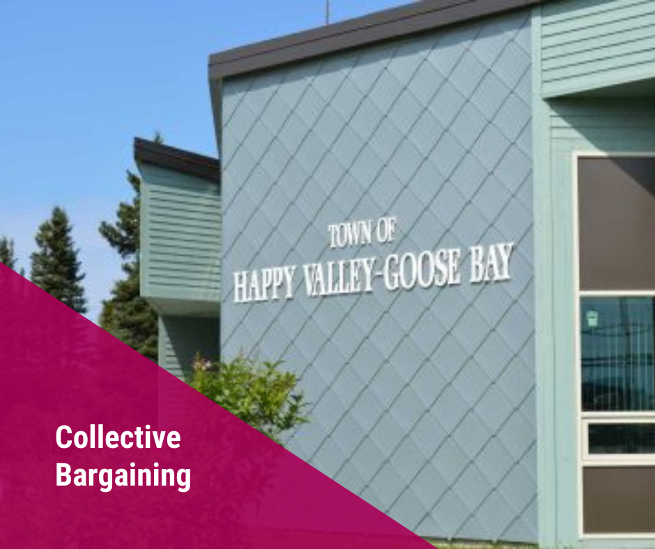 Web banner. Text: Collective Bargaining. Image of town hall in Happy Valley-Goose Bay, NL