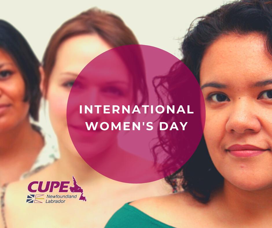 Web banner. Text: International Women's Day. Image: three women.