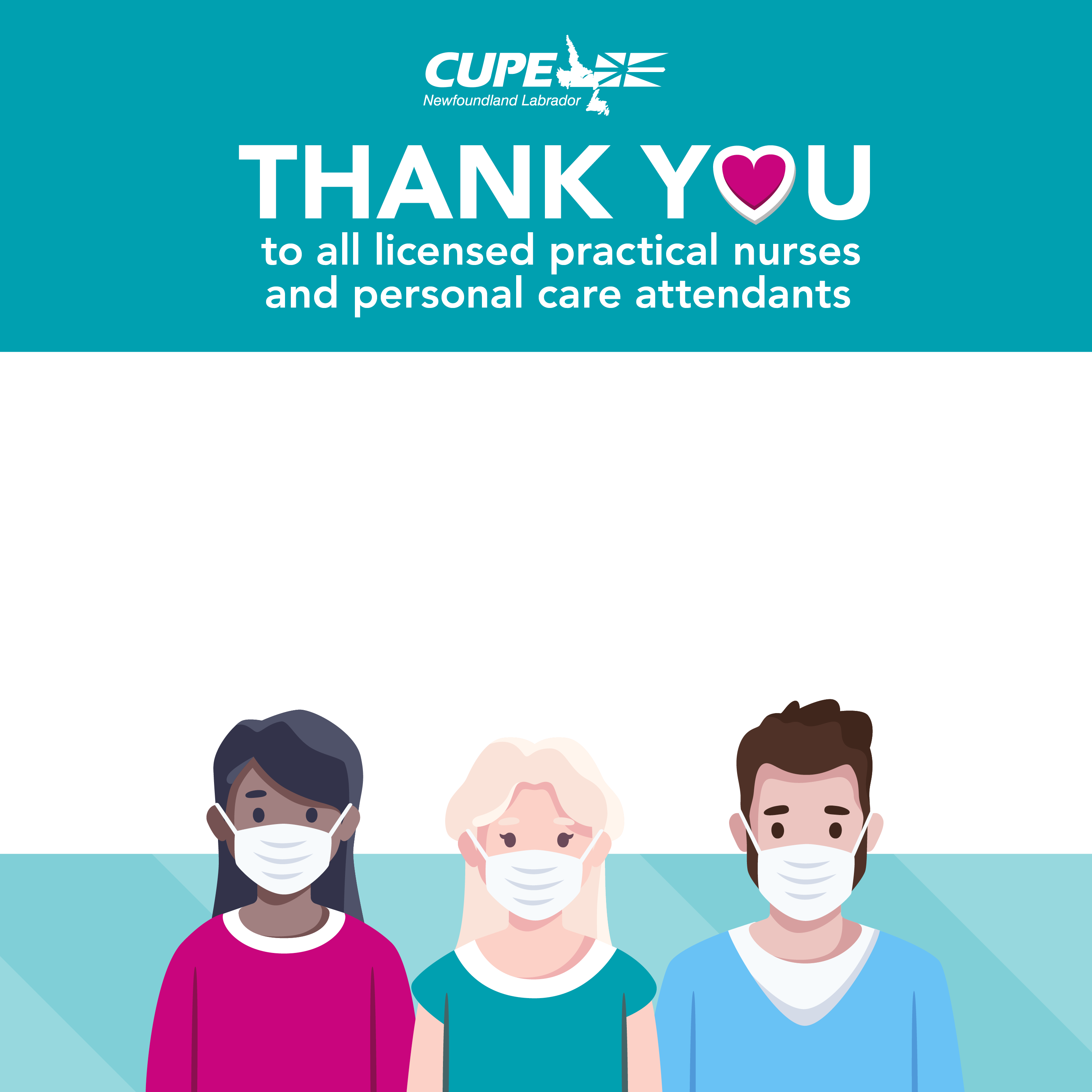 Profile photo frame. Text: Nursing Week 2021. Thank you to all licensed practical nurses and personal care attendants. Exceptional people, essential care.