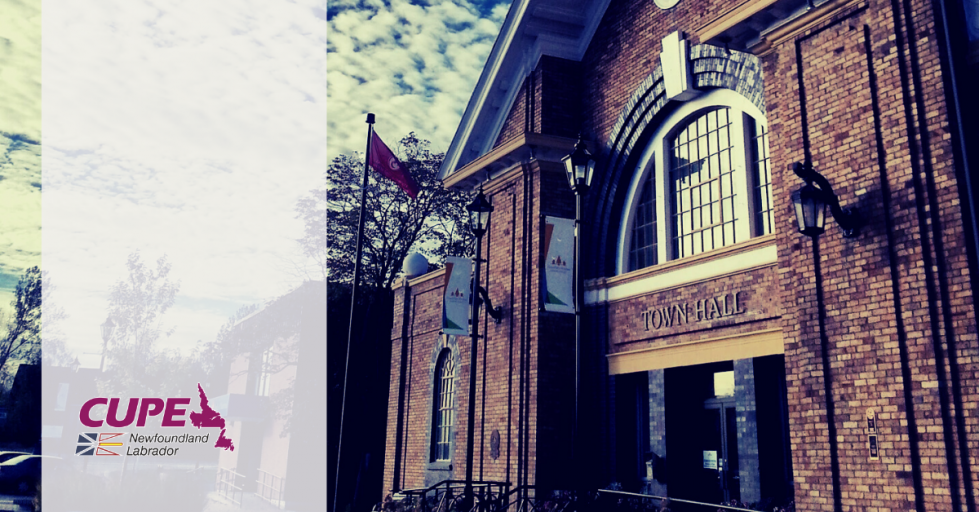 Web banner. No text. CUPE NL logo and photo of Grand Falls-Windsor town hall