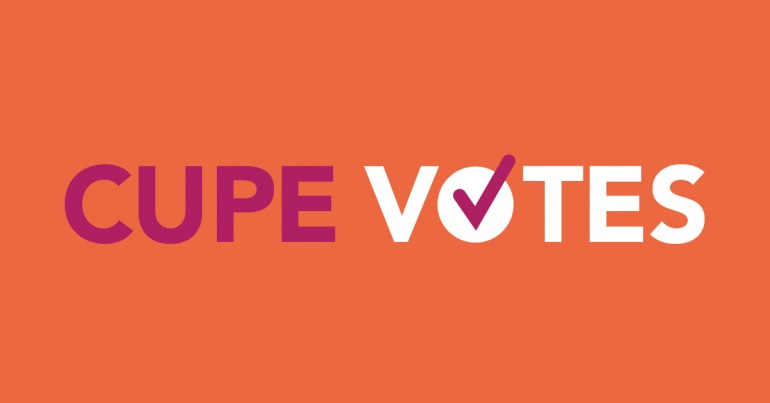 Web banner. Text: CUPE Votes
