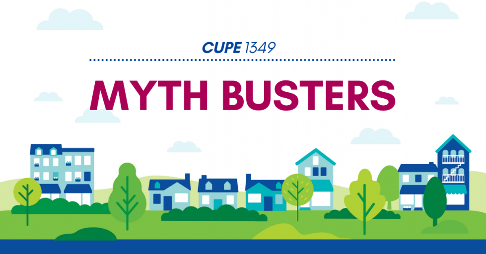Web banner. Text: CUPE 1349 Myth busters. Image: skyline of town buildings.