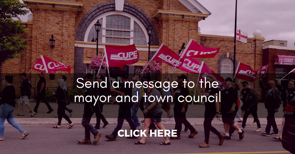 Web banner: Send a message to the mayor and town council. Click here.