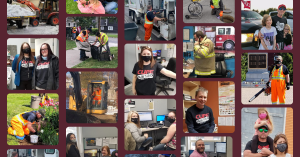 Web banner. Collage of 17 small photos of CUPE members at work and with their families.